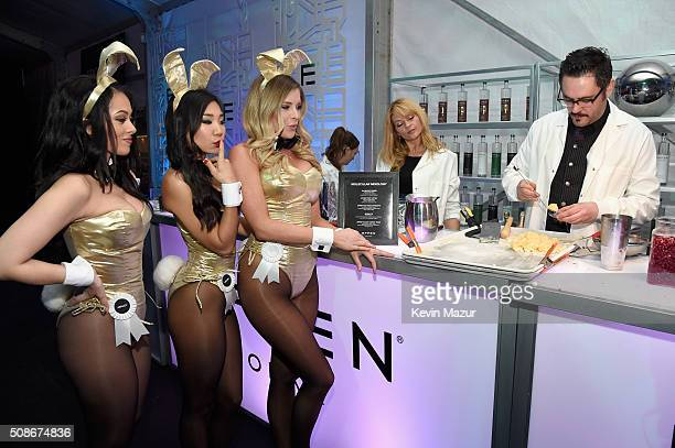 Playmates Ashley Doris Hiromi Oshima and Carly Lauren wear Bunny costumes inspired by the gold detailing on EFFEN Vodka's limited edition football...