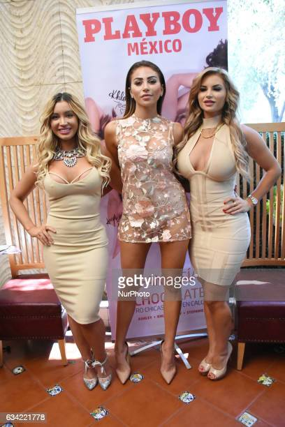 Playmates Ashley Noel Khloë Terae and Amy Lee Summers are seen poses a photo during the launch of 'Chocolate Fantasies' Playboy Mexico Magazine at...