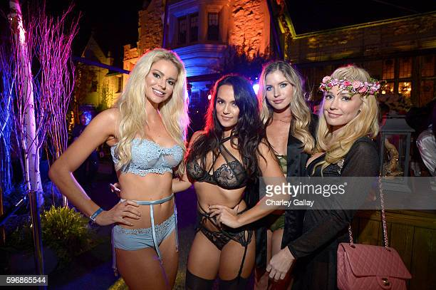 Playmates Beth Williams Raquel Gibson Carly Lauren and Kelly Carrington attend the annual Midsummer Night's Dream party hosted by Hugh Hefner at The...
