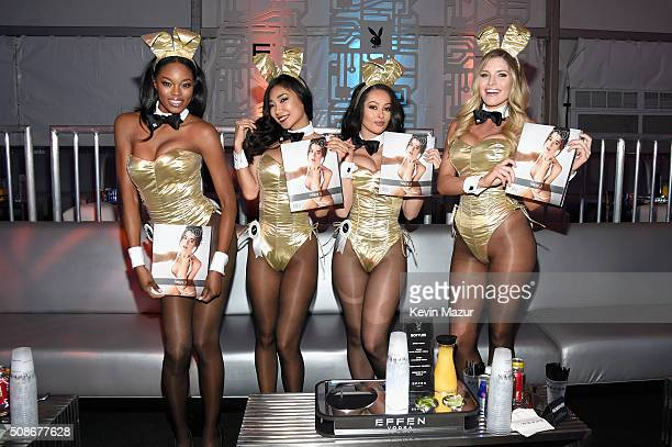 Playmates Eugena Washington Ashley Doris Hiromi Oshima and Carly Lauren wear Bunny costumes inspired by the gold detailing on EFFEN Vodka's limited...