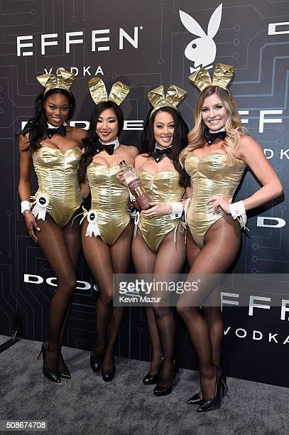Playmates Eugena Washington Hiromi Oshima Ashley Doris and Carly Lauren wear Bunny costumes inspired by the gold detailing on EFFEN Vodka's limited...