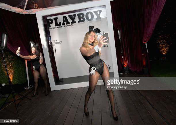 Playmates Heather Rae Young and Ashley Doris attend Amazon Original Series American Playboy The Hugh Hefner Story premiere event at The Playboy...