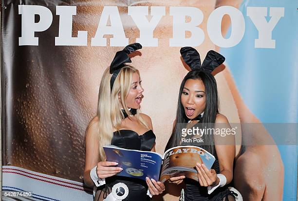Playmates Heather Rae Young and Hiromi Oshima celebrate the release of Playboy magazine's The Freedom Issue at No Vacancy on June 23 2016 in Los...
