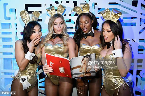 Playmates Hiromi Oshima Carly Lauren Eugena Washington and Ashley Doris wear Bunny costumes inspired by the gold detailing on EFFEN Vodka's limited...