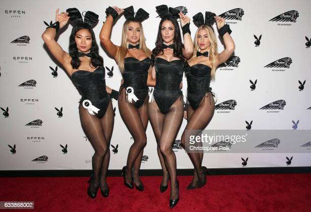 Playmates Hiromi Oshima Monica Sims Summer Altice and Heather Rae Young attend the Playboy party with TAO at Spire Nightclub on February 4 2017 in...