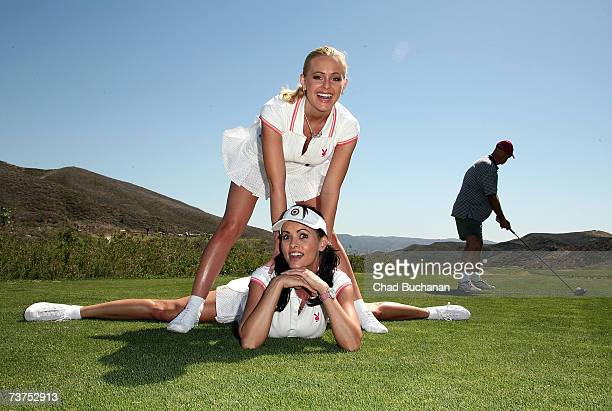 Playmates Katie Lohmann and Karen McDougal attend the 7th Annual Playboy Golf Scramble championship finals at Lost Canyons Golf Club on March 30,...