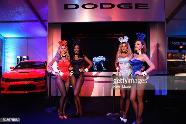 Playmates Kayla Rae Reid Neferteri Shepherd Monica Sims and Kimberly Phillips attend The Playboy Party during Super Bowl Weekend which celebrated the...