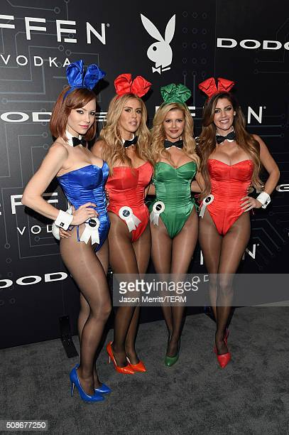 Playmates Kimberly Phillips Kayla Rae Reid Stephanie Branton and Crystal McCahill arrive at The Playboy Party during Super Bowl Weekend which...