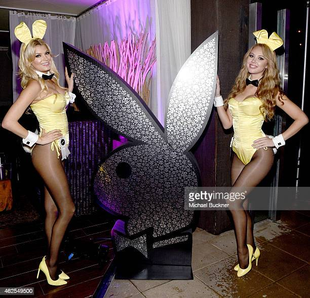 Playmates Kristen Nicole and Tiffany Toth attend the Playboy Party at the W Scottsdale During Super Bowl Weekend on January 30 2015 in Scottsdale AZ