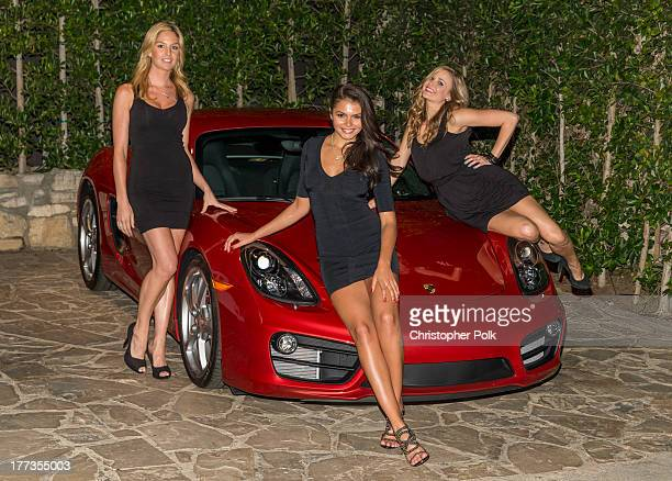 Playmates Michelle McLaughlin Kara Monaco and Alana Campos attend a special movie night gathering held by Porsche and Playboy at The Playboy Mansion...