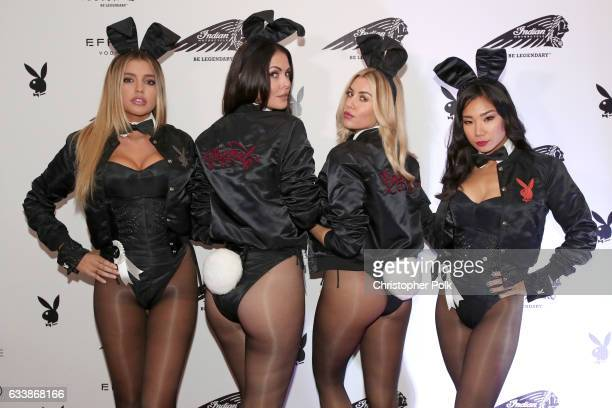 Playmates Monica Sims Summer Altice Heather Rae Young and Hiromi Oshima attend the Playboy party with TAO at Spire Nightclub on February 4 2017 in...