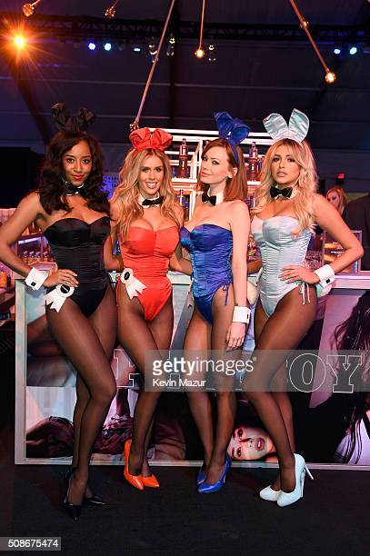 Playmates Neferteri Shepherd Kayla Rae Reid Kimberly Phillips and Monica Sims attend The Playboy Party during Super Bowl Weekend which celebrated the...