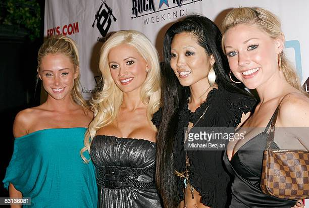 Playmates Sarah Underwood Holly Madison Grace Kim and Kelly Carrington attend the Leather and Lace 2nd Annual Party at the Playboy Mansion on October...