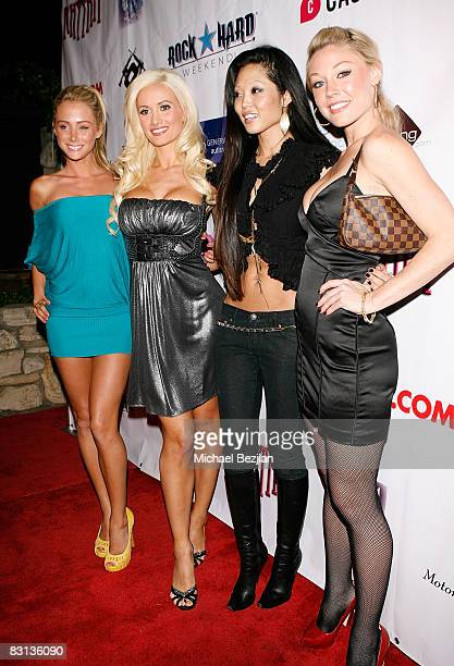 Playmates Sarah Underwood, Holly Madison, Grace Kim and Kelly Carrington attend the Leather and Lace 2nd Annual Party at the Playboy Mansion on...
