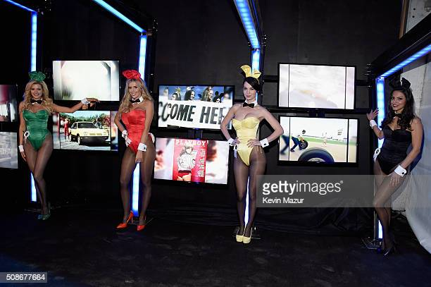 Playmates Stephanie Branton Kayla Rae Reid Pamela Horton and Raquel Pomplun attend The Playboy Party during Super Bowl Weekend which celebrated the...
