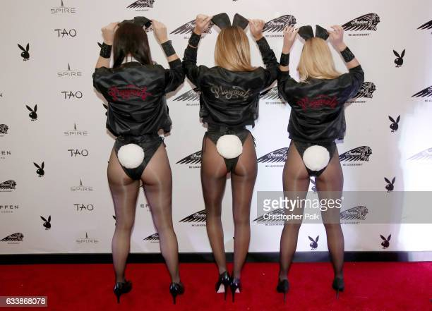 Playmates Summer Altice Monica Sims and Heather Rae Young attend the Playboy party with TAO at Spire Nightclub on February 4 2017 in Houston Texas