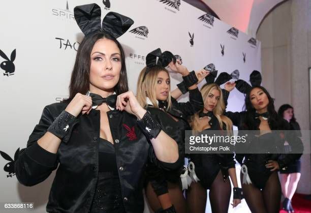 Playmates Summer Altice Monica Sims Heather Rae Young and Hiromi Oshima attend the Playboy party with TAO at Spire Nightclub on February 4 2017 in...
