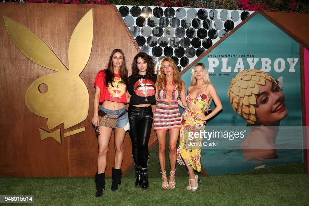 Playmates Summer Altice Nina Daniele Gia Marie and Stephanie Branton Attend Magic Hour at Playboy Social Club on April 13 2018 in Palm Springs...