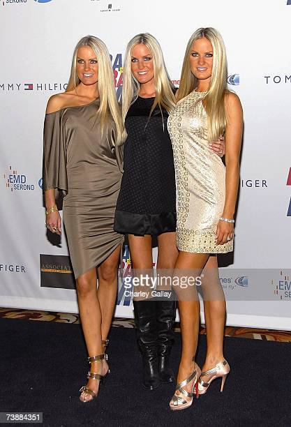 Playmates the Dahm triplets arrive at a the 14th Annual Race To Erase MS Dance to Erase MSthemed gala at the Hyatt Regency Century Plaza Hotel on...