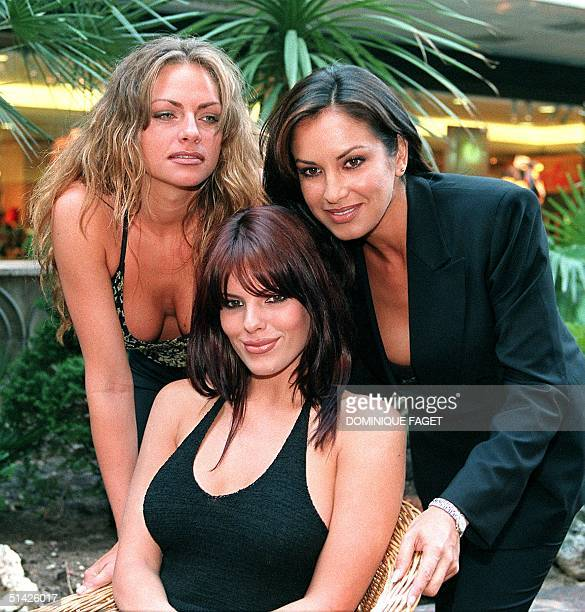 Playmates US Stacy Sanches Uruguayan Monica Mesones and US Layla Roberts pose for photographers before a press conference for the promotion of the...