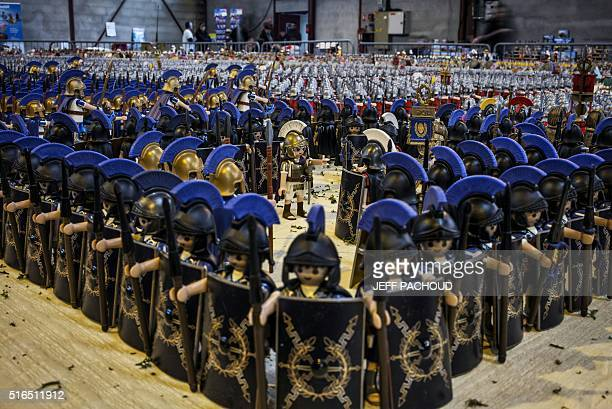 A Playmobil diorama displaying the Battle of Zama fought in 202 BC consisting of more than 26000 figures is seen at the sports hall of Heyrieux...