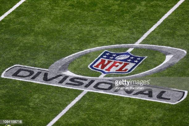 NFL playoff logo is seen during the NFC Divisional Playoff between the New Orleans Saints and the Philadelphia Eagles at the Mercedes Benz Superdome...