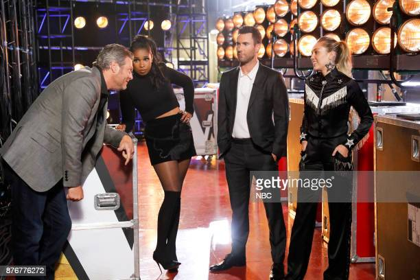 THE VOICE Playoff Rounds Pictured Blake Shelton Jennifer Hudson Adam Levine Miley Cyrus