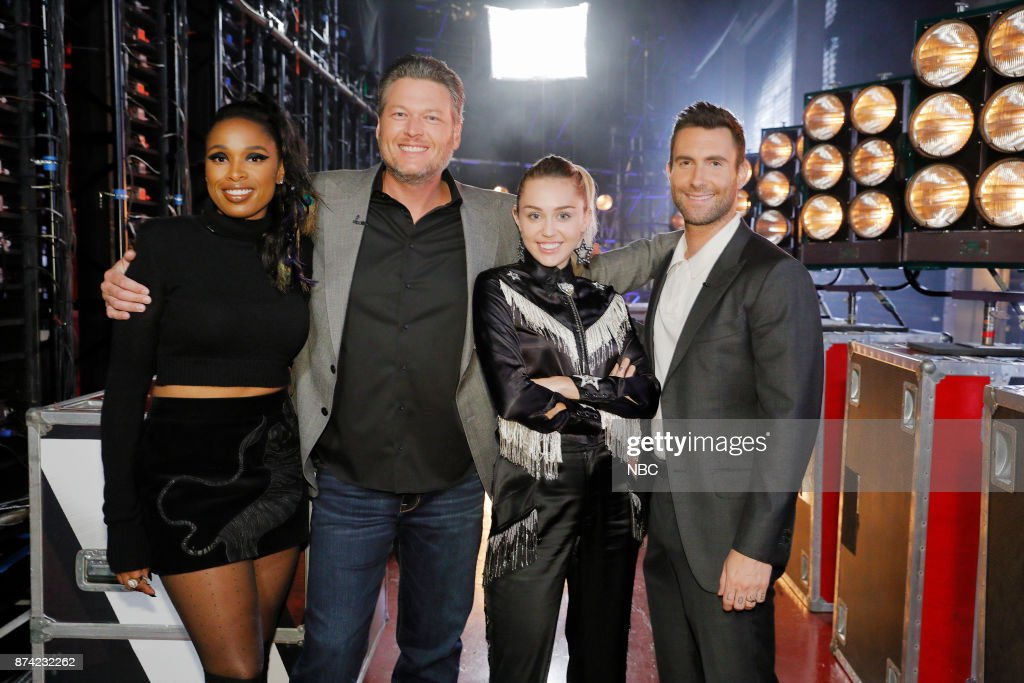 THE VOICE -- 'Playoff Rounds' -- Pictured: (l-r) Jennifer Hudson, Blake Shelton, Miley Cyrus, Adam Levine --