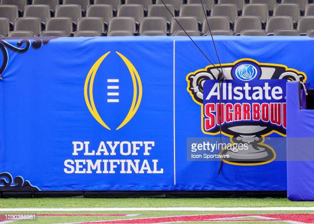 Playoff signage on the wall of the stadium during the first quarter of the game between the Clemson Tigers and the Ohio State Buckeyes on January 1,...