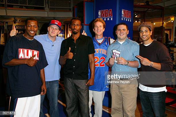 Playoff ticket winner poses with celebrity panelists Flex Alexander Michael Rapaport Leon Matthew Modine and Adam Rodriquez at Celebrity Panel...