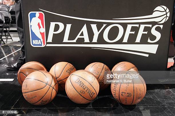 Playoffs signage is displayed on the court in Game Three of the Western Conference Semifinals between the New Orleans Hornets and the San Antonio...