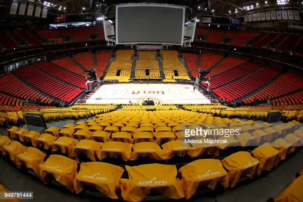 Playoffs signage on shirts laid across seats for Utah Jazz fans before the game against the Oklahoma City Thunder on April 21 2018 at vivintSmartHome...