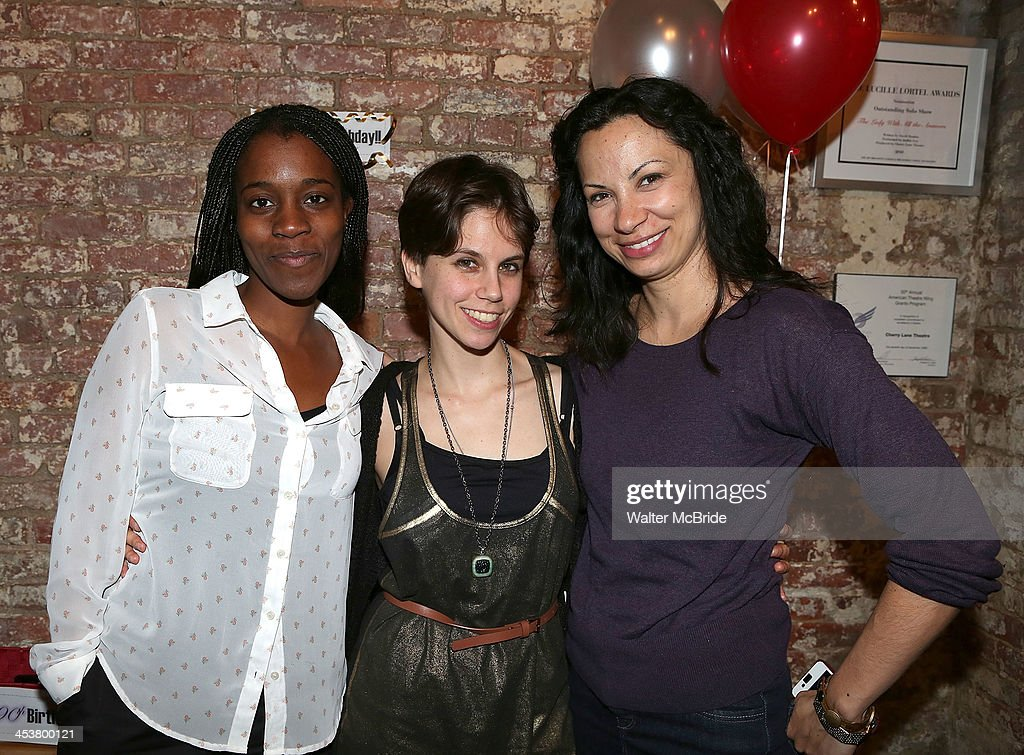 Playright Awoye Timpo and Playright Jen Silverman with Producing Artistic Director Stephanie Ybarra attend Cherry Lane Theatre's 'Mentor Project 2014' 16th anniversary celebration at Cherry Lane Theatre on December 4, 2013 in New York City.