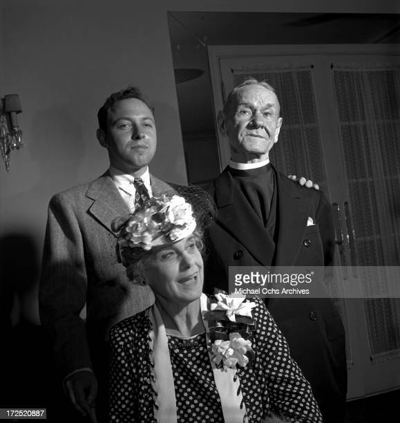 Playright Tennessee Williams and his grandparents Walter Dakin and Rose O. Dakin pose for a portrait circa 1945 in New York City, New York.