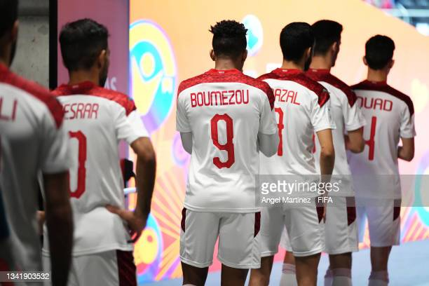 Playrs of Morocco line up ahead of the FIFA Futsal World Cup 2021 Round of 16 match between Venezuela and Morocco at Kaunas Arena on September 22,...
