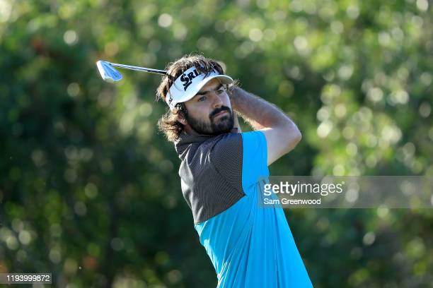 Plays a shot on the 17th hole during the Korn Ferry Tour Q-School Tournament Finals at Orange County National Panther Lake course on December 14,...