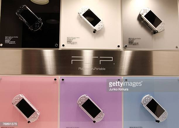 PlayStation Portable are on display at the booth of Sony Computer Entertainment during the Tokyo Game Show at Makuhari Messe on September 20 2007 in...