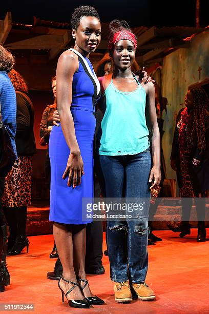 """Playwright and actress Danai Gurira and actress Lupita Nyong'o pose onstage at the first preview of """"Eclipsed"""" on Broadway at the Golden Theatre on..."""