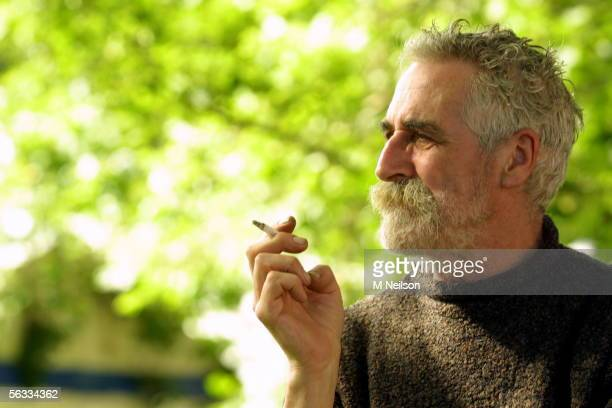 Playwright and author John Byrne partner of actress Tilda Swinton attends the International Book Festival on August 24 2002 in Edinburgh Scotland