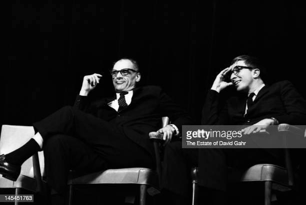 Playwright and essayist Arthur Miller and writer and critic John Updike on stage in November 1966 at an event for Russian poet Yevgeny Yevtushenko at...