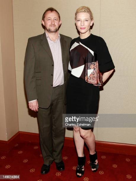 Playwright Andrew Upton and actress Cate Blanchett during the Uncle Vanya cast photo op at New York City Center on July 21 2012 in New York City