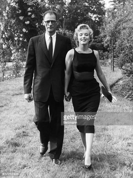 Playwright Arthur Miller and actress Marilyn Monroe after their wedding.