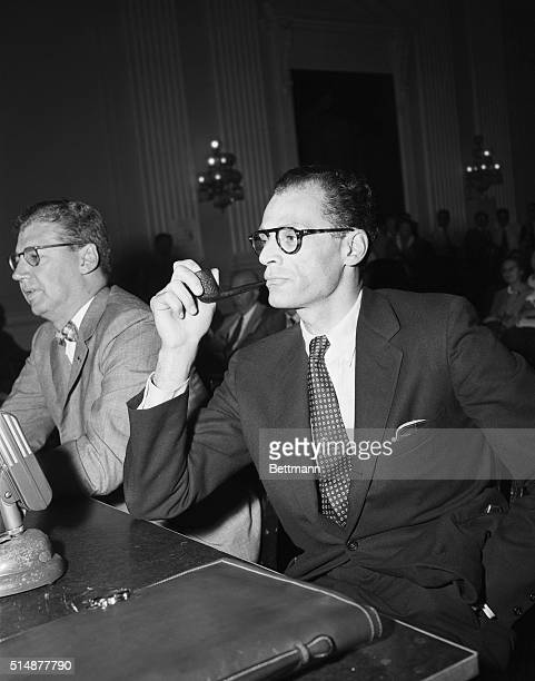Playwright Arthur Miller testifies before a House Un-American Activities subcommittee. He said that he supported Communist causes in the late 1940's...