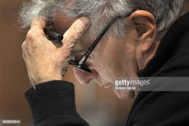 """Playwright Bernard Weinraub is pictured during a rehearsal for Huntington Theatre Company's world premiere of """"Fall"""" in Boston on April 24, 2018...."""