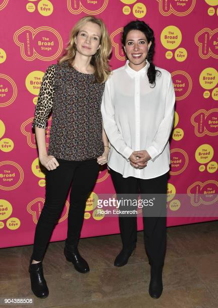 Playwright Bess Wohl and director Rachel Chavkin attend 'Small Mouth Sounds' opening night at The Eli and Edythe Broad Stage on January 12 2018 in...