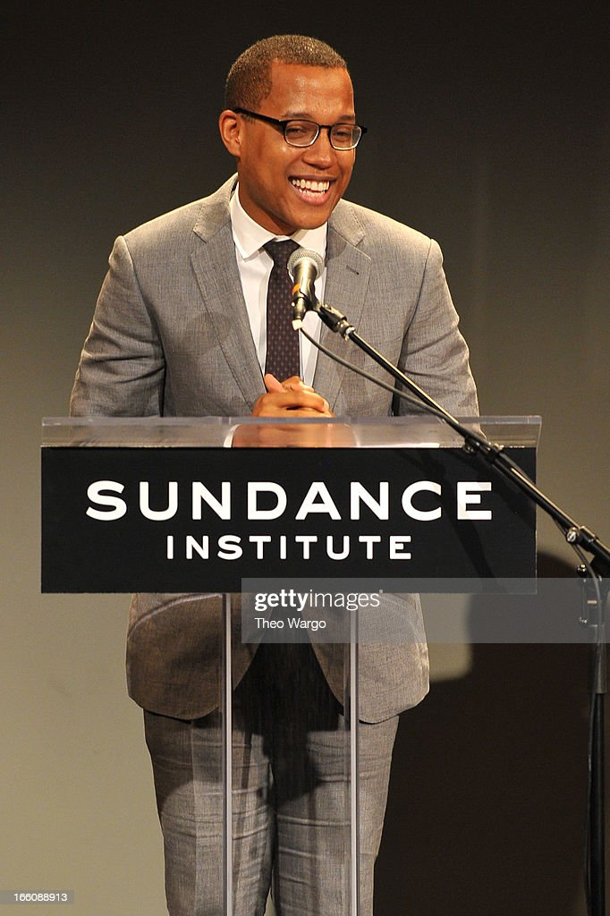 Playwright Branden Jacobs-Jenkins accepts the Tennessee Williams awards onstage at the Celebrate Sundance Institute benefit for its Theatre Program, supported by CÎROC Vodka at the Stephen Weiss Studio on April 8, 2013 in New York City.