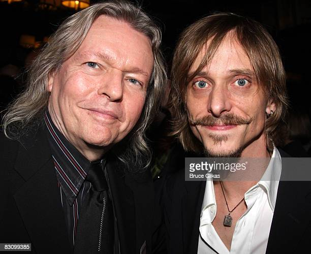 Playwright Christopher Hampton and Mackenzie Crook pose at The Opening Night After Party for The Seagull at Sardi's on October 2 2008 in New York...