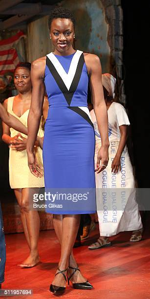 """Playwright Danai Gurira poses at the first preview of her play """"Eclipsed"""" on Broadway at The Golden Theatre on February 23, 2016 in New York City."""