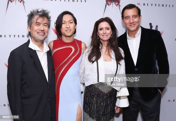 Playwright David Henry Hwang Jn Ha Director Julie Tamor and Clive Owen pose at the Opening Night After Party for 'M Butterfly' on Broadway at Red Eye...