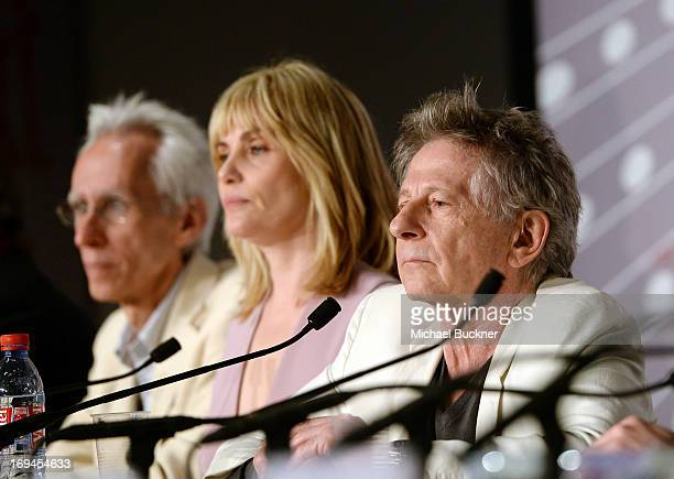 Playwright David Ives actress Emmanuelle Seigner and Director Roman Polanski attend the 'La Venus A La Fourrure' Press Conference during the 66th...